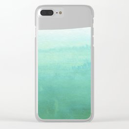 Modern hand painted green teal aqua watercolor ombre motif Clear iPhone Case