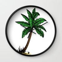 palm tree Wall Clocks featuring palm tree by Li-Bro