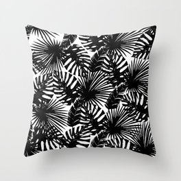 Modern black white watercolor tropical floral leaves Throw Pillow