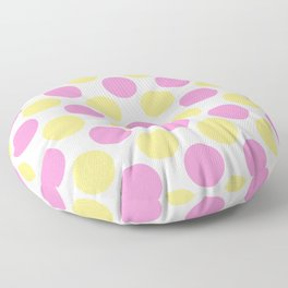 Yellow and pink polka dots Floor Pillow