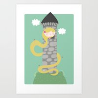 rapunzel Art Prints featuring Rapunzel by Maria Jose Da Luz