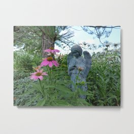 Angel Amid the Flowers Metal Print