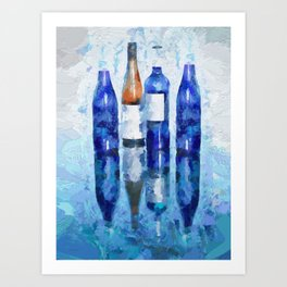 Wine Bottles Reflection Art Print