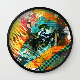 Bengal Tiger in  Abstract Paint Digital art Wall Clock