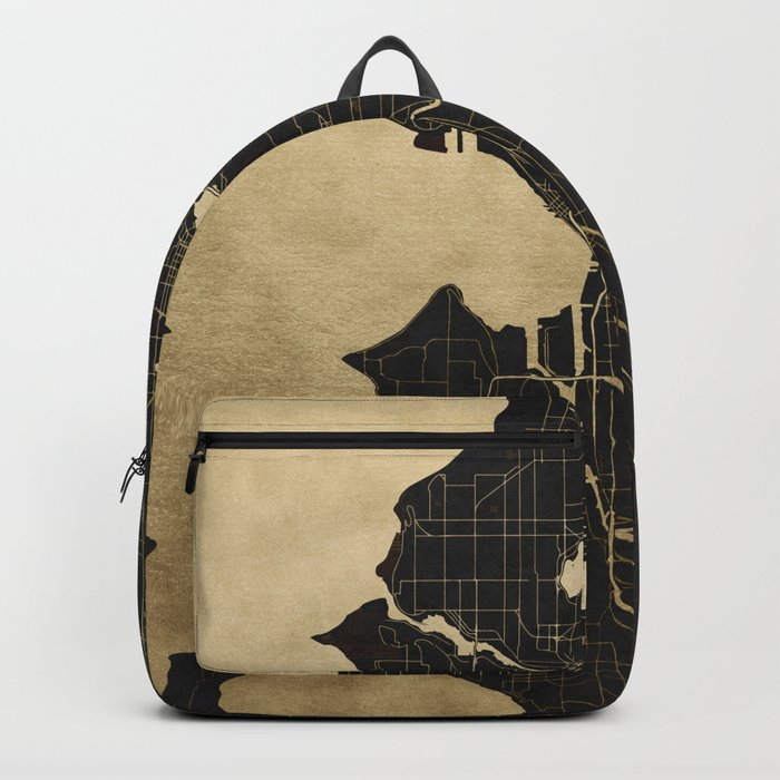 Seattle Black and Gold Map Backpack