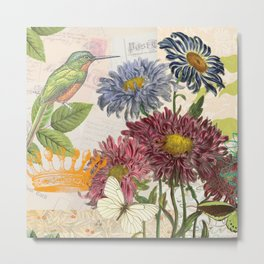 Dahlia Flowers with a Bird and a Crown Metal Print