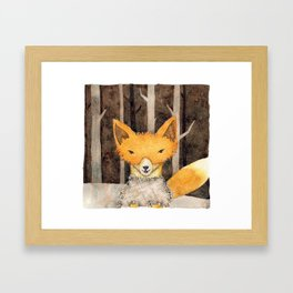 Fox in the woods Framed Art Print