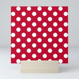 Red and Polka White Dots Mini Art Print