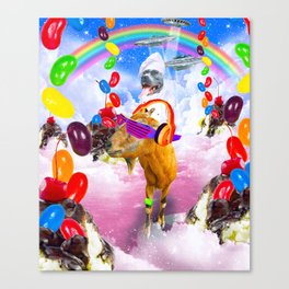 Dog Riding Goat With Sundae And Jelly Beans Canvas Print