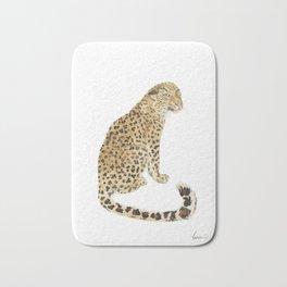 Leopard after a swim Bath Mat