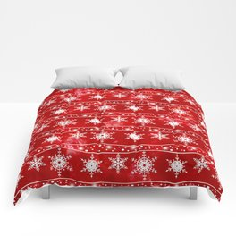 Openwork white snowflakes on red Comforters