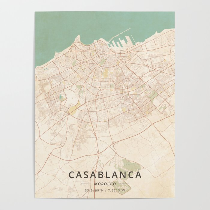 Casablanca, Morocco - Vintage Map Poster by designermapart on berlin germany map, mecca saudi arabia map, berber people, atlas mountains, sopot poland map, tangier location on map, lagos nigeria map, cairo egypt map, dubai map, brussels belgium map, tokyo japan map, ahaggar mountains map, tunis map, beirut lebanon map, khartoum sudan map, hassan ii mosque, riyadh saudi arabia map, algiers algeria map, casablanca tramway pluie, istanbul turkey map, world map, salvador brazil map, tel aviv israel map,
