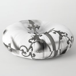 New Orleans Marigny Black and White Fence Floor Pillow