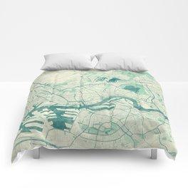 Rotterdam Map Blue Vintage Comforters