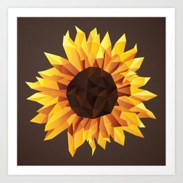 Polygonal Sunflower Art Print