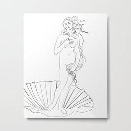 Birth of Venus line art print ,Birth of Venus poster, Botticelli Metal Print
