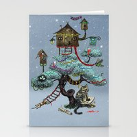 christmas tree Stationery Cards featuring Christmas Tree by Anna Shell