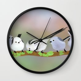Long-tailed tits on a branch Wall Clock