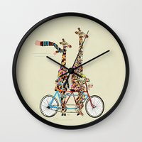 giraffe Wall Clocks featuring giraffe days lets tandem by bri.buckley