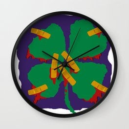 Broken 4 Leaf Clover Wall Clock