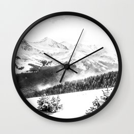 Fresh Snow Dust // Black and White Powder Day on the Mountain Wall Clock