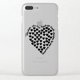 Hearts Heart Teacher Black on White Clear iPhone Case