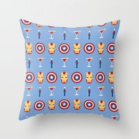 superheroes Throw Pillows featuring Superheroes by Kelslk