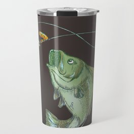 Largemouth Bass Jumping Out Of Water At Night // Spinner lure // Splashing Water // Fish On! Travel Mug