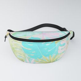 My Blue Green And Pink Summer Tropical Pastel Jungle Fanny Pack