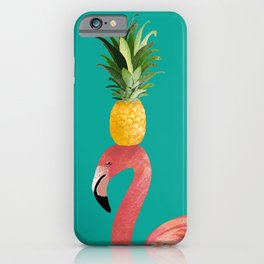 Flamingo Vibes |Tropical Pink Bird Pineapple on Head| Renee Davis iPhone Case