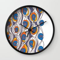 peacock Wall Clocks featuring peacock by colli1 3designs