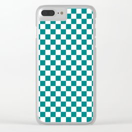 White and Teal Green Checkerboard Clear iPhone Case