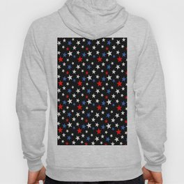 Bold Patriotic Stars In Red White and Blue on Black Hoody