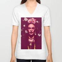 frida V-neck T-shirts featuring Frida by Marialaura