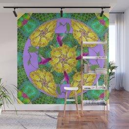 MYSTICAL YELLOW ROSES & PURPLE MORNING GLORIES GREEN ART Wall Mural