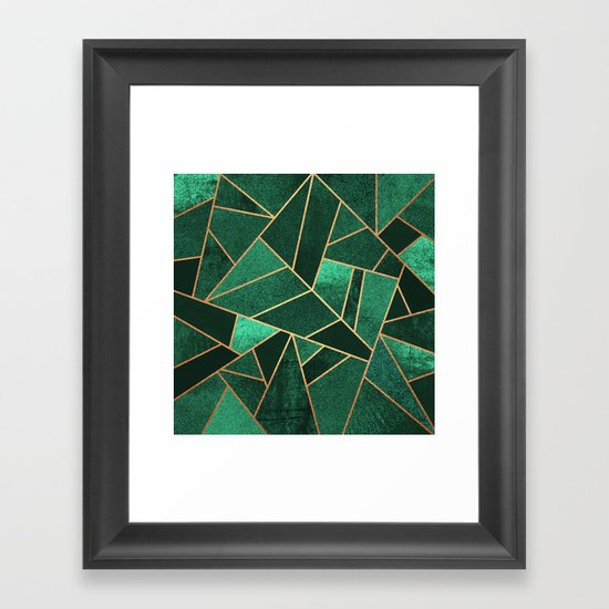 Emerald and Copper Framed Art Print by Elisabeth