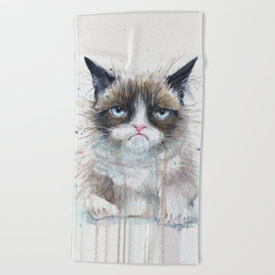 Grumpy Kitty Cat Beach Towel