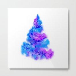 Music Watercolor Christmas Tree Metal Print