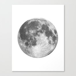 Full Moon phase print black-white monochrome new lunar eclipse poster home bedroom wall decor Canvas Print