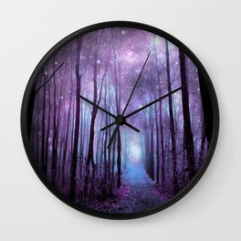 Fantasy Forest Path Muted Violet Wall Clock