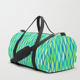 Mid-Century Ribbon Print, Turquoise and Lime Green Duffle Bag