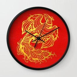 Golden Phoenix  Feng Shui Symbol on Faux Leather Wall Clock