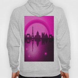 Paris Skyline with Rainbow and starry reflection. Hoody