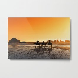 Sunset On Horseback Metal Print
