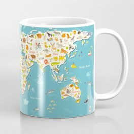 Animals world map. Beautiful cheerful colorful vector illustration for children and kids Coffee Mug