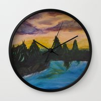 maine Wall Clocks featuring Maine by Lissasdesigns