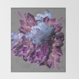 PURPLE AMETHYST WHITE QUARTZ CRYSTALS Throw Blanket