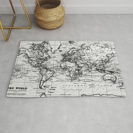World Map (1899) White & Black Rug