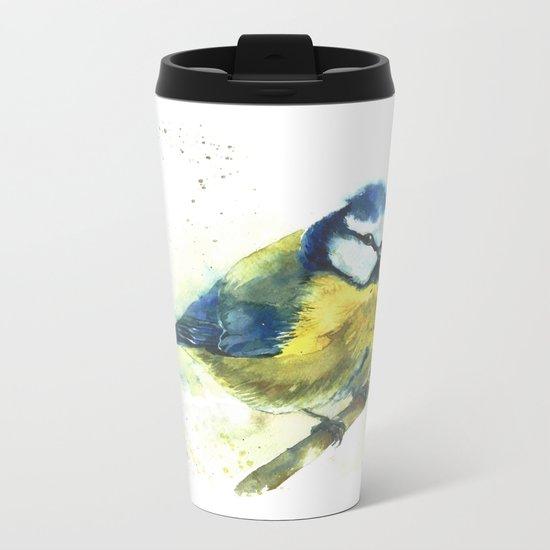 Watercolor titmouse bird Metal Travel Mug