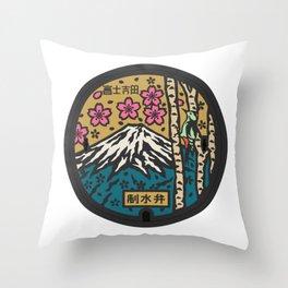 Japan manhole fuji sakura Throw Pillow
